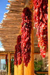 Chile Ristras usually frequently adorn patios and buildings in the Southwest. Michael Hayes